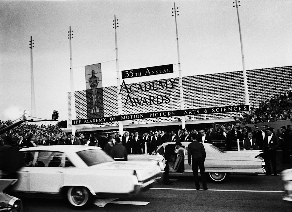 <p>The 35th annual Academy Awards took place at the Santa Monica Civic Auditorium on April 8, 1963. <em>Lawrence of Arabia</em> swept the categories, bringing home seven trophies, including one for Best Picture.</p>
