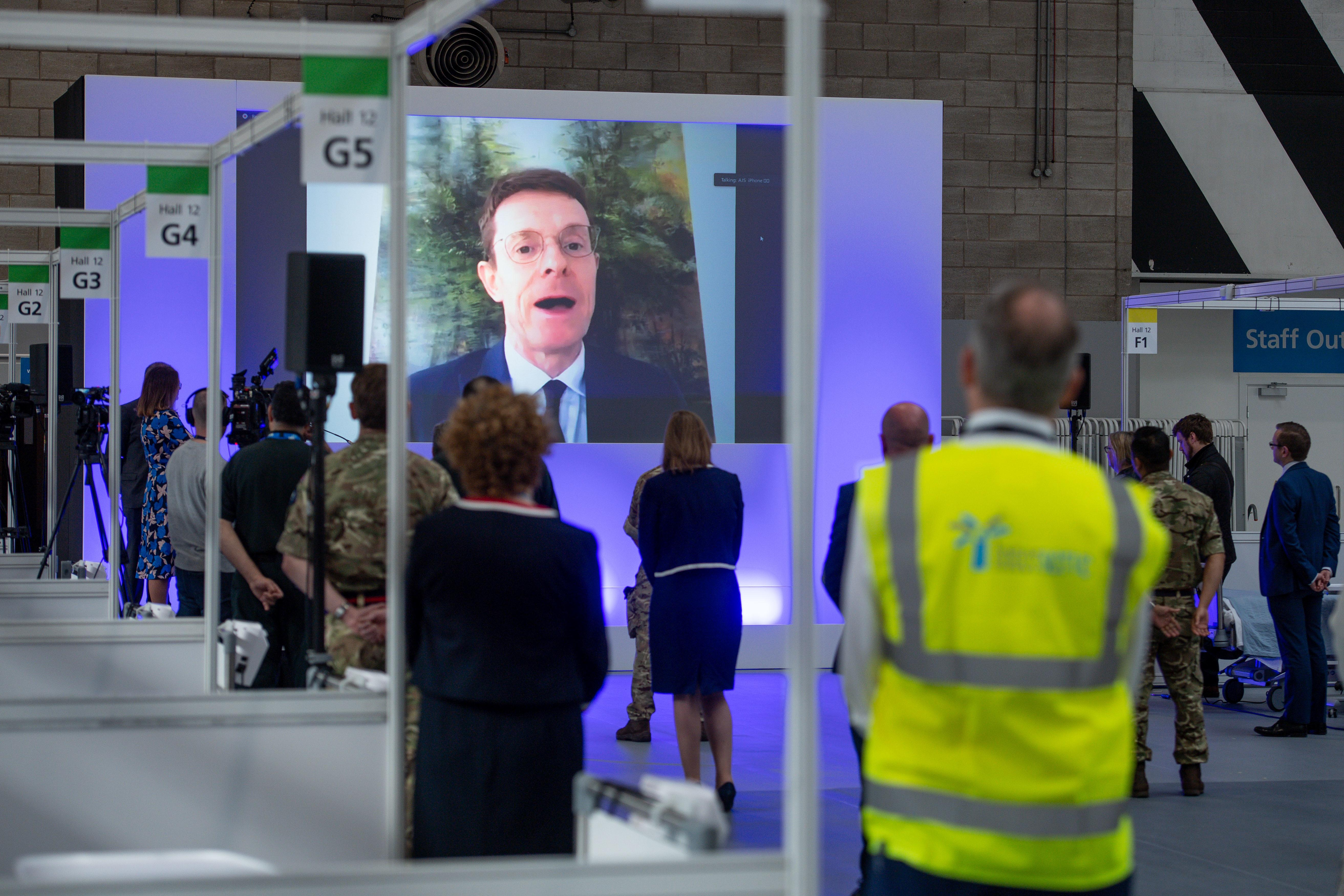 EMBARGOED TO 1330 Thursday April 16, 2020. West Midlands Mayor Andy Street speaks via videolink at the opening of the NHS Nightingale Hospital Birmingham, in the National Exhibition Centre (NEC).