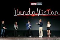 """""""WandaVision"""" on Disney+ stars witch Wanda (Elizabeth Olsen) and other-worldly android Vision (Paul Bettany), two superheroes who struck up an unlikely but fan-favorite romance across several Marvel superhero films"""