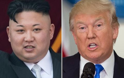 <span> This combo of file photos shows an image (L) taken on April 15, 2017 of North Korean leader Kim Jong-Un on a balcony of the Grand People's Study House following a military parade in Pyongyang; and an image (R) taken on July 19, 2017 of US President Donald Trump</span>