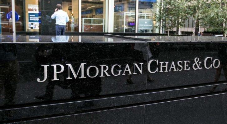 JPMorgan Chase (JPM) lettering on a corporate office in New York City.