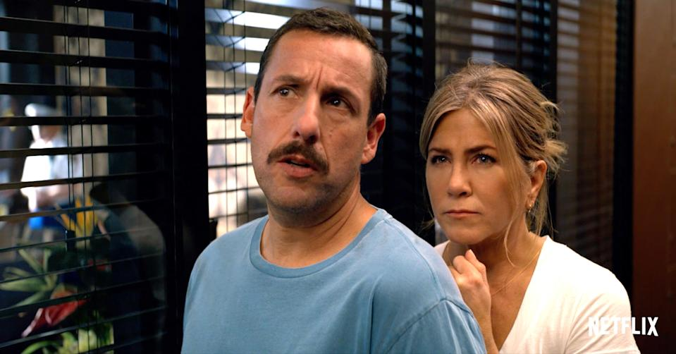 "<h3><strong><em>Murder Mystery</em></strong><br>June 12</h3><br><br>Adam Sandler's production company, Happy Madison, has an exclusive deal with the streaming service. With <em>Murder Mystery</em>, Sandler is bringing Jennifer Aniston aboard the Happy Madison train. <em>Murder Mystery </em>is about a couple (Sandler and Aniston) who take a long-awaited European vacation. On their way, they somehow become embroiled with a mysterious billionaire and his shady dealings.<span class=""copyright"">Broadimage/REX/Shutterstock</span>"