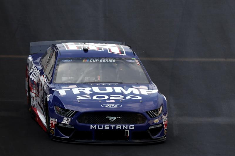 INDIANAPOLIS, INDIANA - JULY 05: Corey LaJoie, driver of the #32 Trump 2020 Ford, drives during the NASCAR Cup Series Big Machine Hand Sanitizer 400 Powered by Big Machine Records at Indianapolis Motor Speedway on July 05, 2020 in Indianapolis, Indiana. (Photo by Jamie Squire/Getty Images)