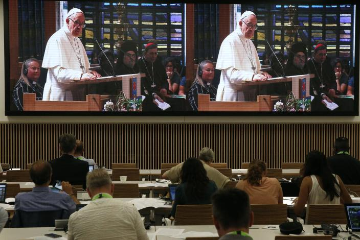 """<span class=""""caption"""">The pope is big news, and provides plenty of column inches in the US.</span> <span class=""""attribution""""><a class=""""link rapid-noclick-resp"""" href=""""https://www.gettyimages.com/detail/news-photo/on-21-june-2018-the-world-council-of-churches-receives-a-news-photo/1132276780?adppopup=true"""" rel=""""nofollow noopener"""" target=""""_blank"""" data-ylk=""""slk:Godong/Universal Images Group via Getty Images"""">Godong/Universal Images Group via Getty Images</a></span>"""