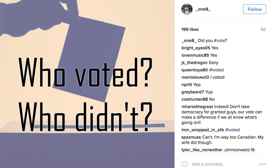 It appears Mike Evans erased his reply on Louis Murphy's Instagram page on whether he voted or not. (@_one8_)