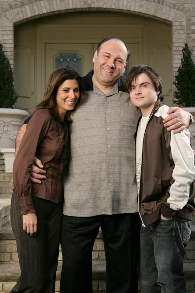 "Jamie-Lynn Sigler, James Gandolfini, and Robert Iler in HBO's ""The Sopranos."""