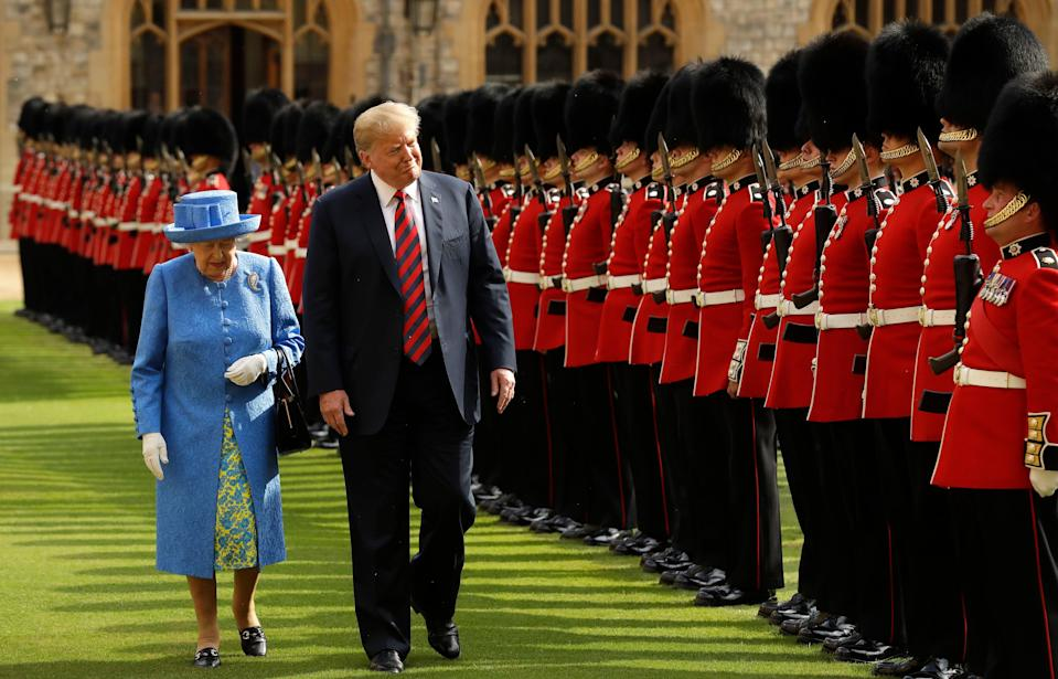 The Queen inspects a guard of honour with Donald Trump in 2018 (Getty)