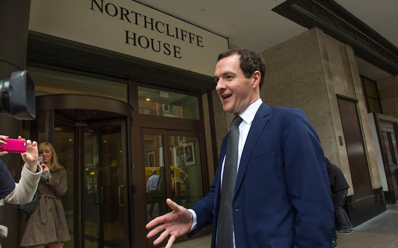 George Osborne MP leaves Northcliffe House in Kensington, West London, home of the Evening Standard - Credit:  JULIAN SIMMONDS