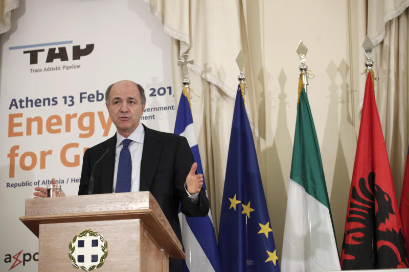 Italian Development Minister Corrado Passera speaks during a signing ceremony backing the privately-funded venture known as the Trans-Adriatic Pipeline, worth euro 1.5 billion ($2.02 billion), in Athens, on Wednesday, Feb. 13, 2013. Greece, Italy and Albania signed an agreement backing a proposed pipeline to transport natural gas from the Caspian Sea to western Europe. (AP Photo/Petros Giannakouris)