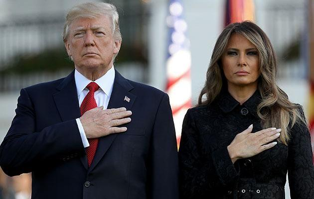 He was seen leading a moment of silence in Washington DC, but Trump's previous attitude to 9/11 has come under fire. Photo: Getty