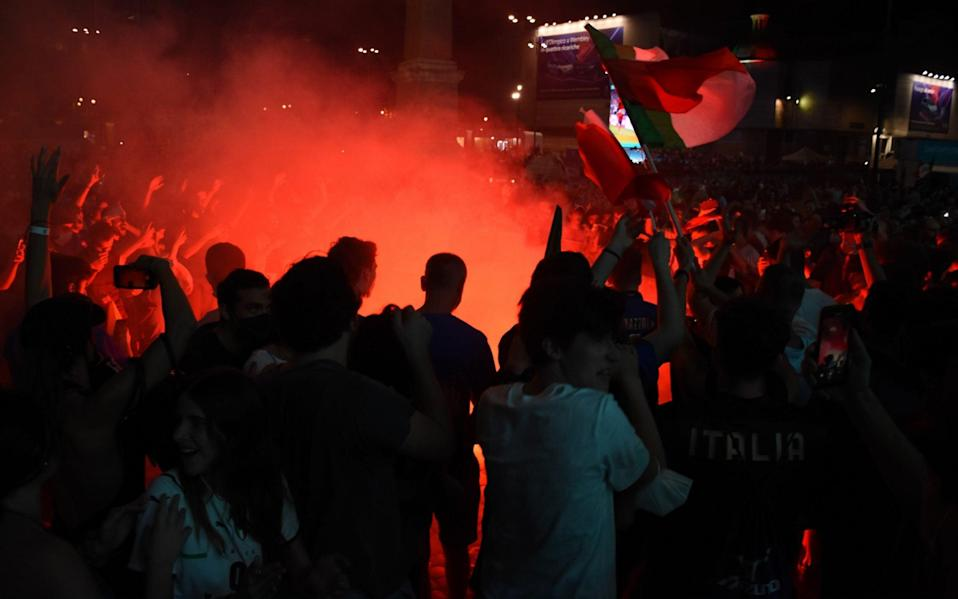 Italy fans set off flares and smoke bombs - GETTY IMAGES