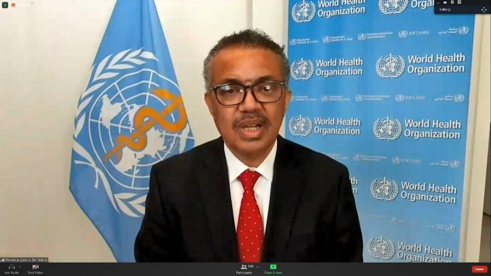 (201109) -- GENEVA, Nov. 9, 2020 (Xinhua) -- A screenshot taken on Nov. 9, 2020 shows World Health Organization Director-General Dr. Tedros Adhanom Ghebreyesus delivering a speech at the resumed session of the 73rd World Health Assembly in Geneva, Switzerland. The resumed session of the 73rd World Health Assembly opened on Monday to address some of the most pressing global health issues and emergencies, including the COVID-19 pandemic that had claimed over 1.25 million lives and infected more than 50 million people worldwide. (Xinhua) (Xinhua/Xinhua  via Getty Images)