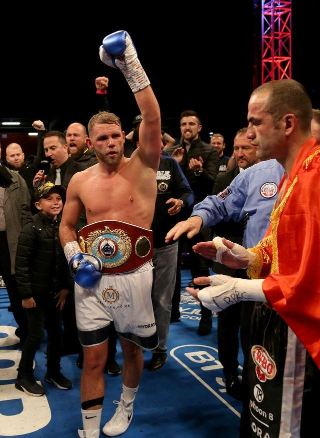 Billy Joe Saunders won the WBO World super-middleweight title against Shefat Isufi (Paul Harding/PA)