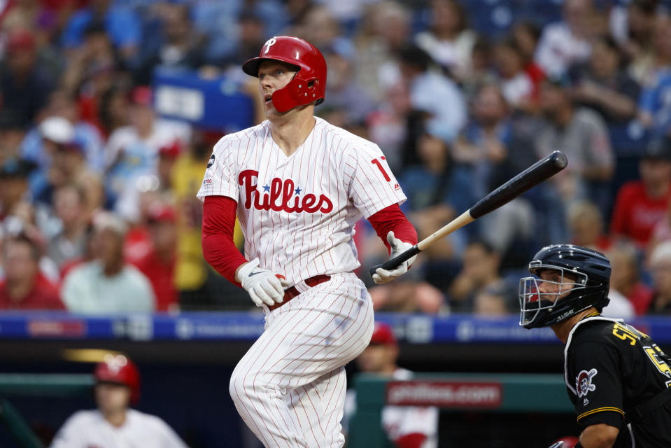 Philadelphia Phillies' Rhys Hoskins watches after hitting an RBI double off Pittsburgh Pirates starting pitcher Mitch Keller during the third inning of a baseball game, Wednesday, Aug. 28, 2019, in Philadelphia. (AP Photo/Matt Slocum)