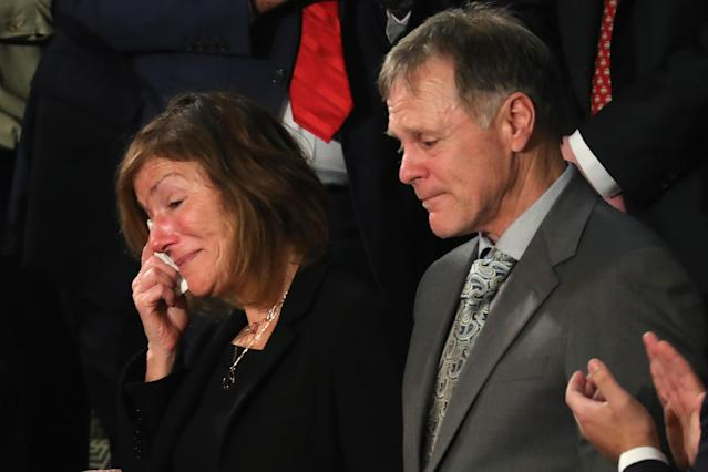 <p>Trump acknowledged Fred and Cindy and Fred Warmbier, parents of Otto Warmbier, during his State of the Union address on Jan. 30. Otto died shortly after his release from a hard labor camp in North Korea. (Photo: Chip Somodevilla/Getty Images) </p>