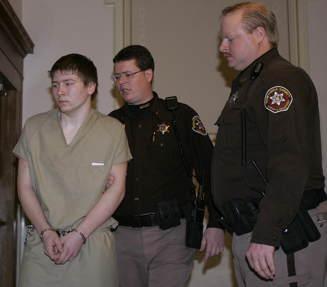 """FILE - In a Friday, March 3, 2006 file photo, Brendan Dassey is escorted out of a Manitowoc County Circuit courtroom, in Manitowoc, Wis. A three-judge panel from the 7th Circuit on Thursday, June 22, 2017 affirmed that Dassey, a Wisconsin inmate featured in the Netflix series """"Making a Murderer"""" was coerced into confessing and should be released from prison. Dassey was sentenced to life in prison in 2007 in photographer Teresa Halbach's death two years earlier. (AP Photo/Morry Gash, File)"""