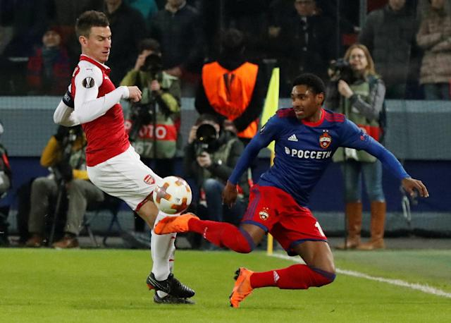 Soccer Football - Europa League Quarter Final Second Leg - CSKA Moscow v Arsenal - VEB Arena, Moscow, Russia - April 12, 2018 CSKA Moscow's Vitinho in action with Arsenal's Laurent Koscielny REUTERS/Grigory Dukor