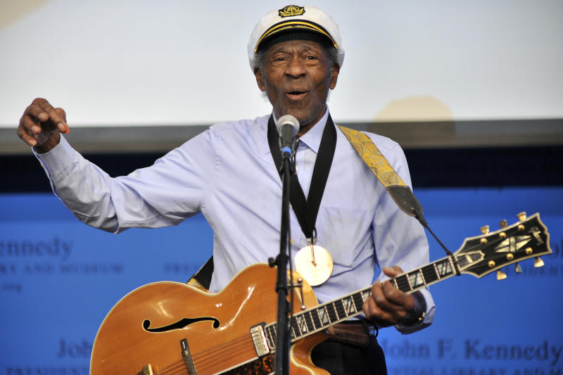 """FILE - This Feb. 26, 2012 file photo, musician Chuck Berry plays """"Johnny B. Goode"""" at the John F. Kennedy Presidential Library and Museum in Boston. Berry will be honored this fall by the Rock and Roll Hall of Fame as part of its American Music Masters series. (AP Photo/Josh Reynolds, File)"""