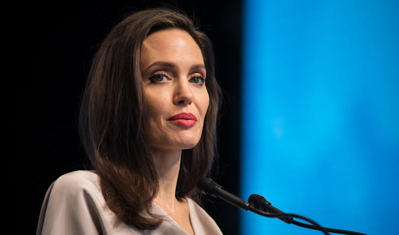 Angelina Jolie gives the keynote speech during the 2017 UN Peacekeeping Defense Ministerial conference in Vancouver.