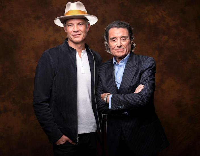 """3/21/19 2:58:31 PM -- Los Angeles, CA, U.S.A.: Portrait of Tim Olyphant and Ian McShane who are reprising their roles of Seth Bullock and Al Swearengen from the HBO series """"Deadwood."""" Photo by Robert Hanashiro, USA TODAY Staff      Assignment notes:   -- This is for a story on HBO's two-hour finale movie for """"Deadwood,"""" a popular Western series that ran for three seasons (2004-06). A closing movie had long been rumored and is now happening and will premiere in late May. We're talking to the two main stars, Tim Olyphant, who plays Seth Bullock, and Ian McShane, who plays Al Swearengen. -- ORG XMIT:  RH 137895 'Deadwood' movie 03/21/2019 [Via MerlinFTP Drop]"""