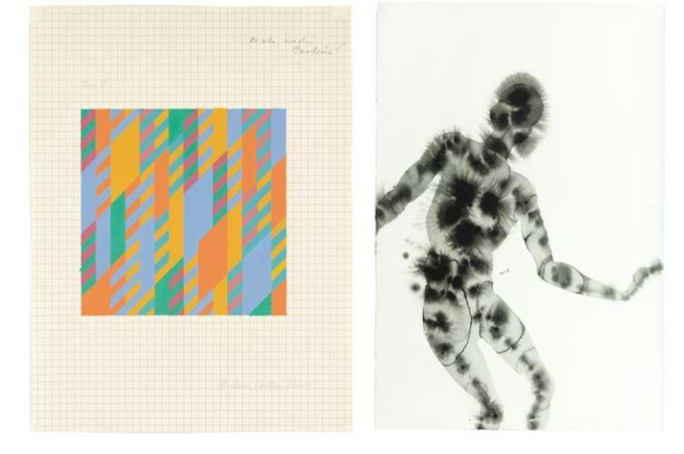 Bridget Riley's 'Untitled ' (L) and Antony Gormley's 'PATHOLOGY III' (R) will be auctioned off during an online-only sale at Christie's.