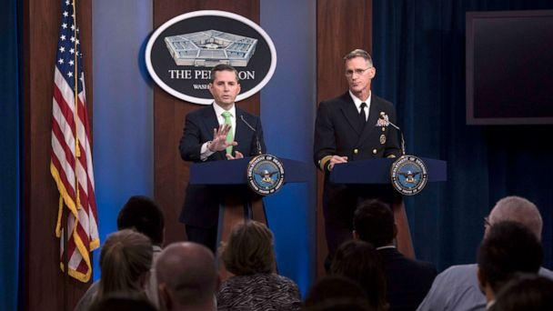 PHOTO: Assistant to the Secretary of Defense for Public Affairs Jonathan Rath Hoffman and Navy Rear Adm. William D. Byrne Jr., Joint Staff vice director, respond to questions at a news conference at the Pentagon, Washington, D.C., Nov. 7, 2019. (Petty Officer 2nd Class James Le/US Navy)