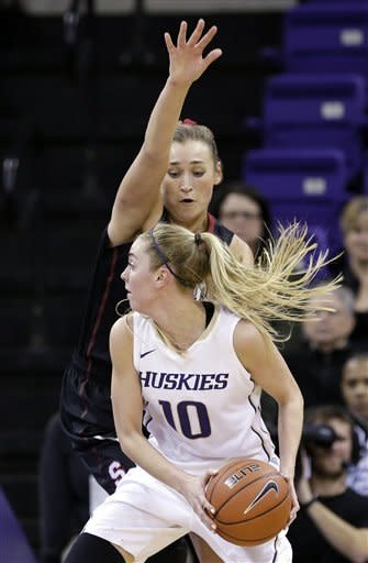 Stanford's Joslyn Tinkle defends Washington's Kristi Kingma during the first half of an NCAA college basketball game Thursday, Feb. 28, 2013, in Seattle. (AP Photo/Elaine Thompson)