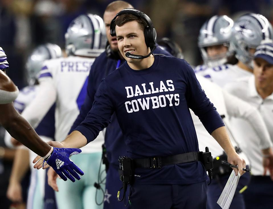 ARLINGTON, TEXAS - NOVEMBER 28:  Offensive coordinator Kellen Moore of the Dallas Cowboys at AT&T Stadium on November 28, 2019 in Arlington, Texas. (Photo by Ronald Martinez/Getty Images)