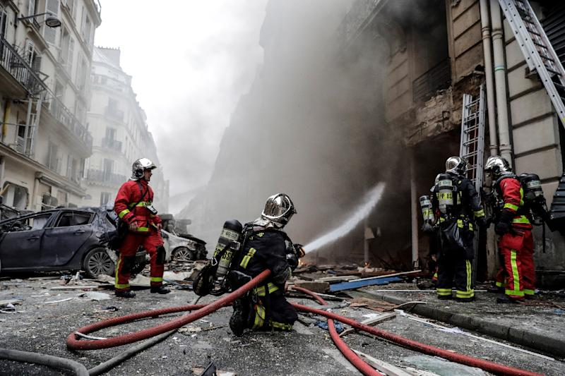A large explosion badly damaged the bakery in central Paris, injuring several people and smashing nearby windows after a suspected gas leak
