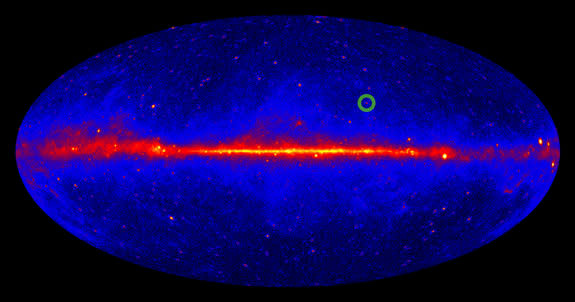 A map of the gamma-ray sky, created using four years of data collected by NASA's Fermi satellite. The color coding displays the intensity of the detected gamma radiation (low intensity = blue, medium intensity = red, high intensity = yellow). T
