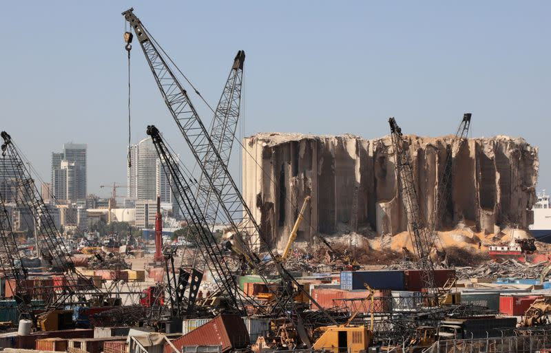 A view shows the grain silo that was damaged in a massive explosion at Beirut port