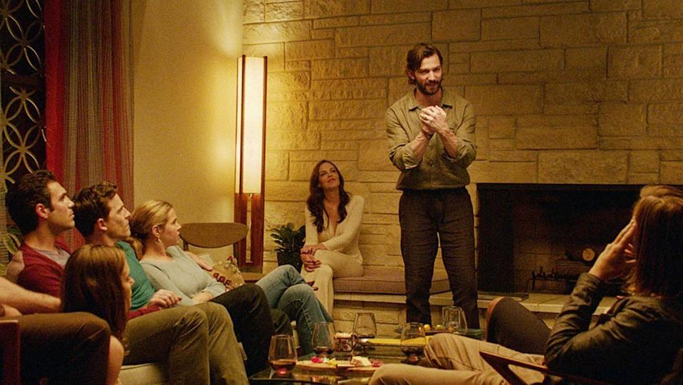 "<p>A man attends a dinner party hosted by his ex-wife and her new husband. When he arrives, the couple starts talking about a program that feels right on the line between self-help and cult. Is it something he can endure for the sake of good relations with his ex, or is there something darker behind it all?</p><p><a class=""link rapid-noclick-resp"" href=""https://www.netflix.com/watch/80048977"" rel=""nofollow noopener"" target=""_blank"" data-ylk=""slk:WATCH NOW"">WATCH NOW </a></p>"