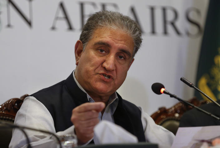 Pakistan's Foreign Minister Shah Mahmood Qureshi addresses the current situation in Afghanistan during a press conference, in Islamabad, Pakistan, Monday, Aug. 23, 2021. Qureshi on Monday urged the Taliban and other Afghan leaders to try to reach an understanding for an inclusive political settlement as soon as possible so that an uncertain situation prevailing in Afghanistan ends. (AP Photo/Anjum Naveed)