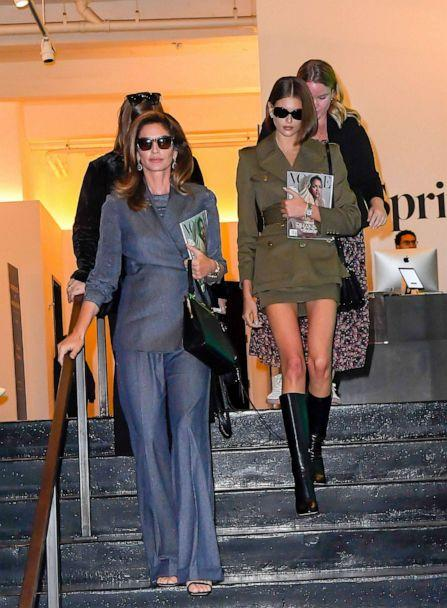 PHOTO: Models Cindy Crawford and Kaia Gerber are seen in Soho on Oct. 10, 2019, in New York. (Raymond Hall/GC Images via Getty Images)