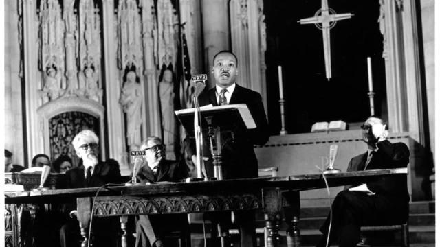 "Martin Luther King Jr. delivers his ""Beyond Vietnam"" speech at Riverside Church in New York City on April 4, 1967. (Photo: John C. Goodwin/UMC)."