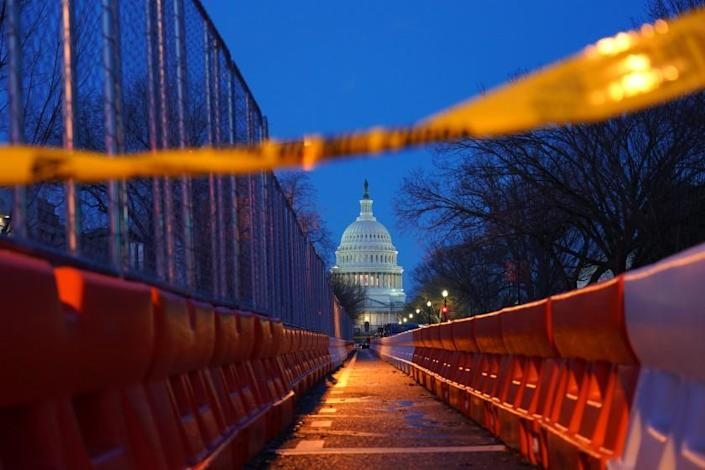 Washington , DC - January 20: Police tape and barriers in front of the Capital building prior to the start of the 59th presidential inauguration in Washington, D.C. on Wednesday, Jan. 20, 2021. (Marcus Yam / Los Angeles Times)