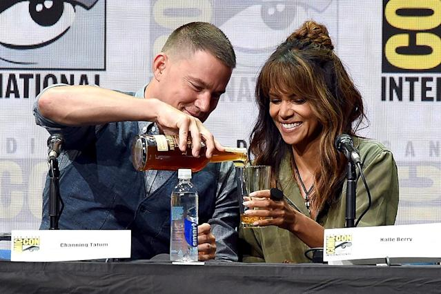 "<p>At the superfun fan fest known as <a href=""https://www.yahoo.com/movies/tagged/comic-con/"" data-ylk=""slk:Comic-Con"" class=""link rapid-noclick-resp"">Comic-Con</a>, Tatum poured a glass of booze for his co-star in the upcoming movie <i>Kingsman: The Golden Circle</i>. Berry must have approved of Tatum's bartending skills, because she downed the entire glass moments later! (Photo: Kevin Winter/Getty Images) </p>"