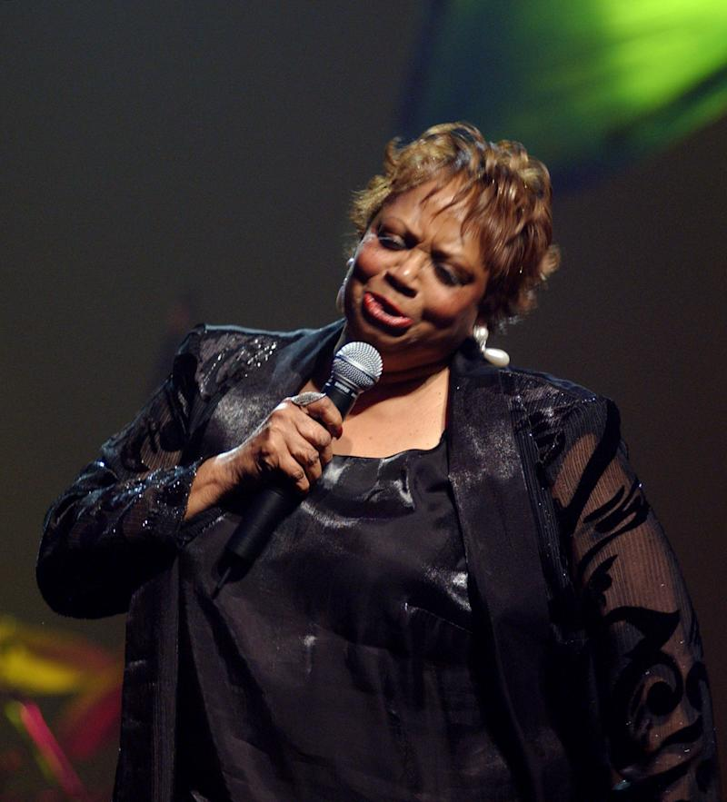 "FILE - In this Nov. 8, 201 file photo taken in New York City Fontella Bass performs during the Pioneer Awards at New York's Apollo Theatre. The St. Louis-born soul singer who hit the top of the R&B charts with ""Rescue Me"" in 1965, died Wednesday, Dec. 26, 2012. The singer's daughter, Neuka Mitchell, says Bass died at a St. Louis hospice Wednesday night of complications from a heart attack suffered three weeks ago. She was 72. (AP Photo/Louis Lanzano, File)"
