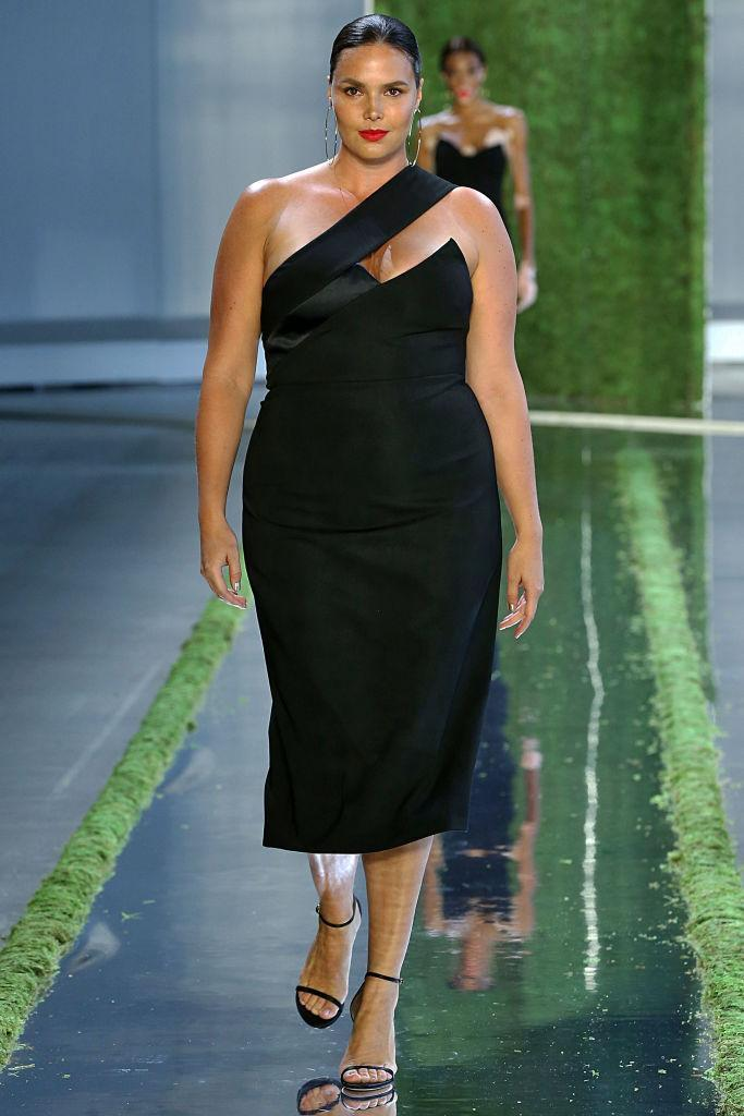 <p>In Carly Cushnie's debut show without Michelle Ochs, who left the brand earlier this year, Cushnie was all about female empowerment, body positivity, and elevating her sexy, silky contemporary evening dresses that the brand has become known for. Candice Huffine walks Cushnie's spring 2019 show during New York Fashion Week. (Photo: Getty Images) </p>