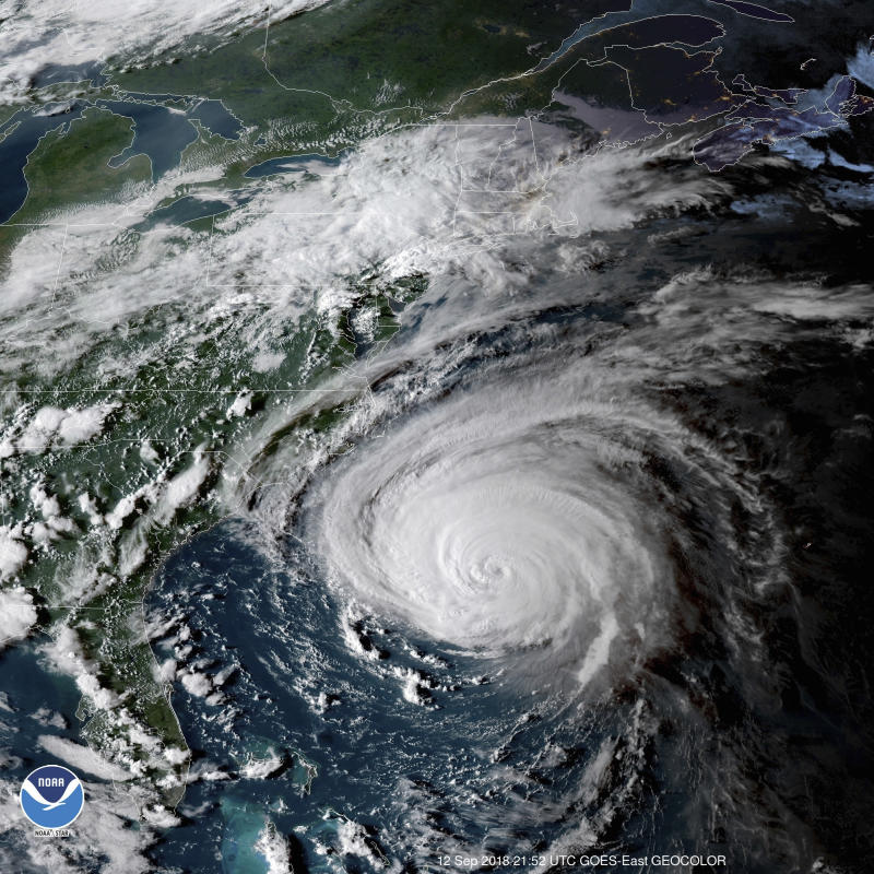 Satellite image shows Hurricane Florence off the eastern coast of the US.