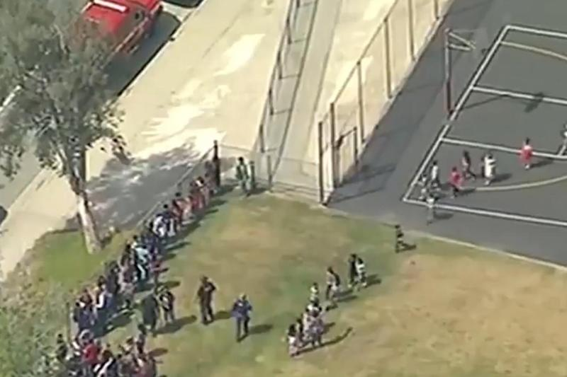 Students were evacuated from the school after the shooting (Sky News)