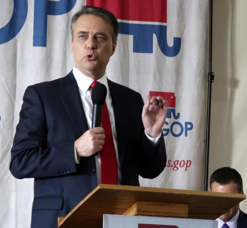Kansas Gov. Jeff Colyer makes a point during a Republican gubernatorial primary debate, Saturday, June 23, 2018, in Salina, Kan. Colyer is battling Kansas Secretary of State Kris Kobach and has stepped up his attacks on Kobach's conservative credentials. (AP Photo/John Hanna)