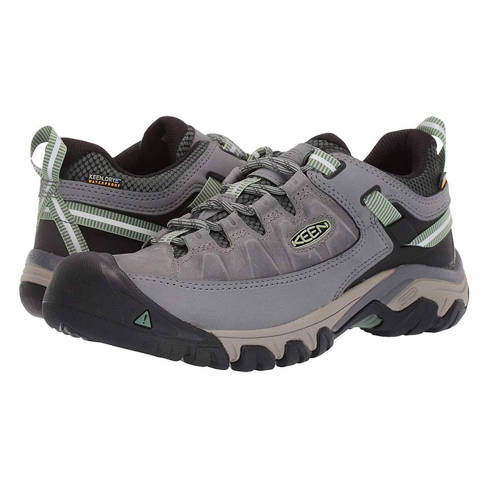"<p><strong>Keen</strong></p><p>zappos.com</p><p><strong>$139.95</strong></p><p><a href=""https://go.redirectingat.com?id=74968X1596630&url=https%3A%2F%2Fwww.zappos.com%2Fp%2Fkeen-targhee-iii-waterproof-alcatraz-blue-turquoise%2Fproduct%2F9253925&sref=https%3A%2F%2Fwww.prevention.com%2Ffitness%2Fworkout-clothes-gear%2Fg19791835%2Fbest-hiking-shoes-for-women%2F"" rel=""nofollow noopener"" target=""_blank"" data-ylk=""slk:Shop Now"" class=""link rapid-noclick-resp"">Shop Now</a></p><p>Keen's signature deep, wide toe box has made the brand a favorite among hikers with wider feet and those with conditions like <a href=""https://www.prevention.com/health/health-conditions/a19840908/rheumatoid-arthritis-symptoms/"" rel=""nofollow noopener"" target=""_blank"" data-ylk=""slk:arthritis"" class=""link rapid-noclick-resp"">arthritis</a>. Plus, the extra room <strong>allows feet to swell painlessly during hiking</strong>, meaning you won't have to drop out halfway through the trail. Mud shields, waterproof membranes, removable EVA footbeds, and all-terrain outsoles are just the cherries on top.</p>"