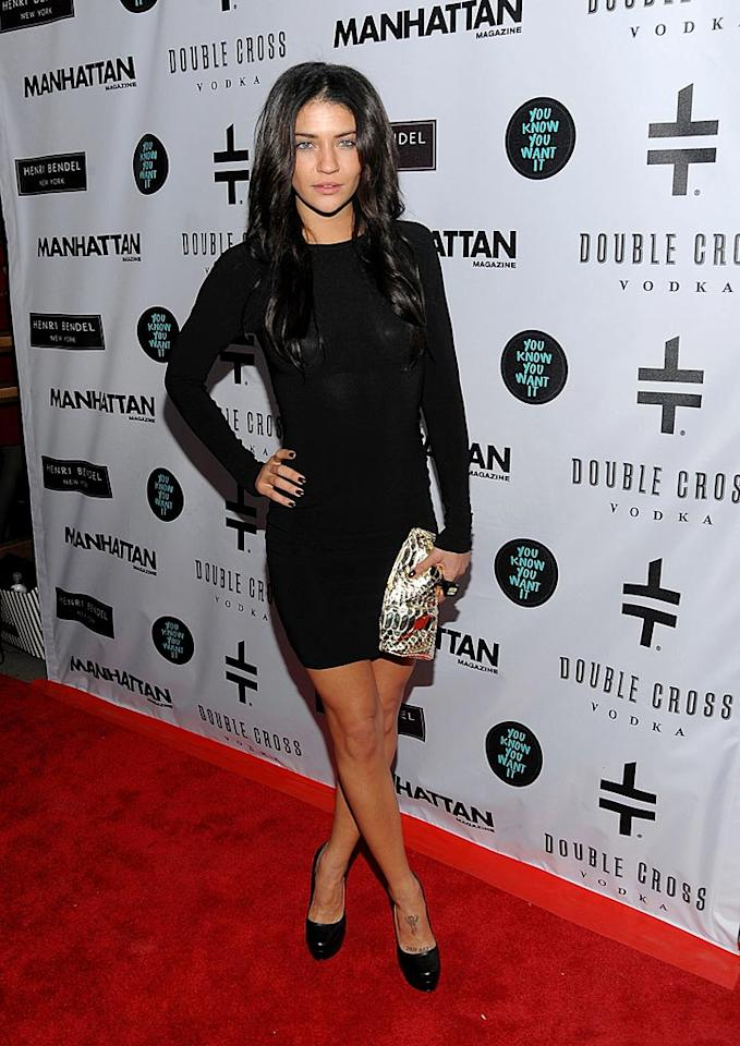 """Jessica Szohr emphasized accessories, walking the red carpet with a snakeskin clutch in hand and flashing a tattoo on her foot. Jamie McCarthy/<a href=""""http://www.wireimage.com"""" target=""""new"""">WireImage.com</a> - January 12, 2010"""