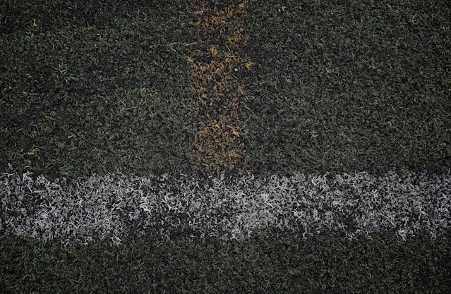 "Markings are seen on an astro-turf pitch in south-east London, Britain, May 21, 2018. REUTERS/Hannah McKay SEARCH ""FOOTBALL GLOBAL"" FOR THIS STORY. SEARCH ""WIDER IMAGE"" FOR ALL STORIES."