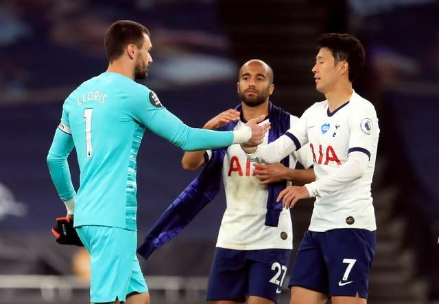 Hugo Lloris, left, and Son Heung-min, right, soon made up after their disagreement (Adam Davy/NMC Pool/PA)