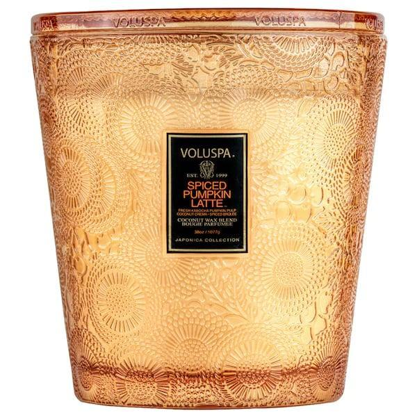 <p>Even if you already know (all too well) what pumpkin spice lattes smell like, this <span>Voluspa Spiced Pumpkin Latte Glass Candle</span> ($18-$85) offers an amped-up version with cinnamon, ginger, cardamom, and clove added to the pumpkin, and a yummy hint of vanilla and coconut, too.</p>