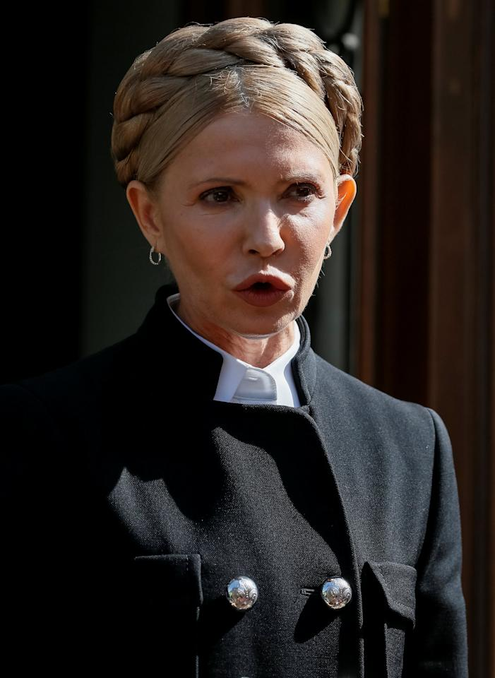 Ukrainian opposition leader Yulia Tymoshenko speaks during a press conference in Lviv, Ukraine September 11, 2017.  REUTERS/Gleb Garanich