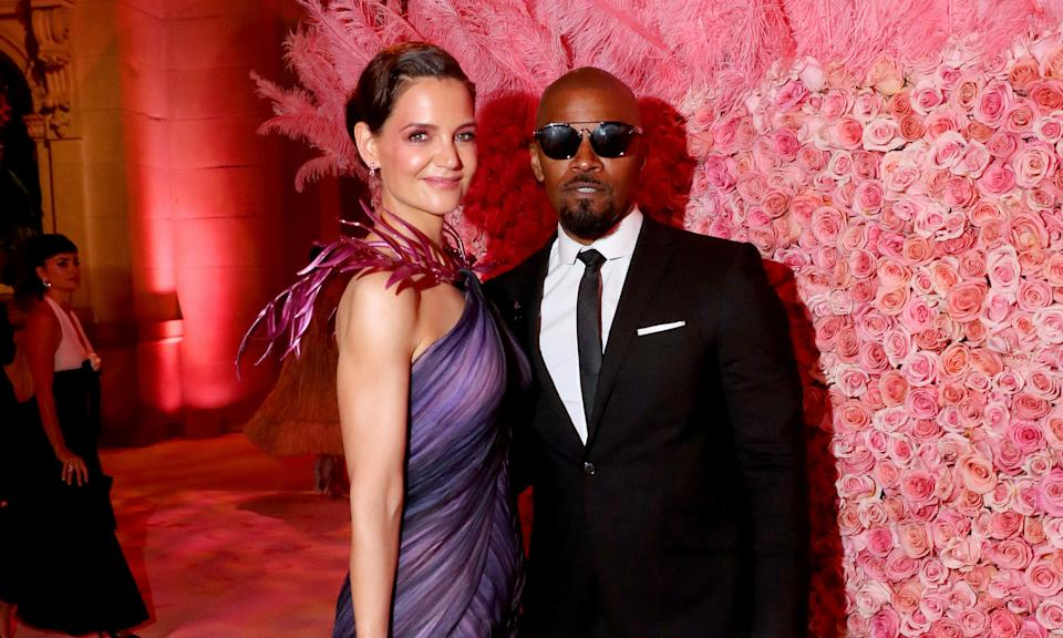 "The very private, and perhaps surprising, pairing of Jamie Foxx and Katie Holmes split this year after dating for some time. It came after they attended their first red carpet together at the 2019 Met Gala with reports suggesting it <a href=""https://uk.news.yahoo.com/jamie-foxx-and-katie-holmes-reportedly-split-as-hes-photographed-with-21-yearold-singer-213149875.html"" data-ylk=""slk:ended when Foxx was seen holding hands;outcm:mb_qualified_link;_E:mb_qualified_link;ct:story;"" class=""link rapid-noclick-resp yahoo-link"">ended when Foxx was seen holding hands</a> with up and coming singer Sela. Foxx denied their relationship was anything other than platonic. (Kevin Tachman/MG19/Getty Images for The Met Museum/Vogue)"