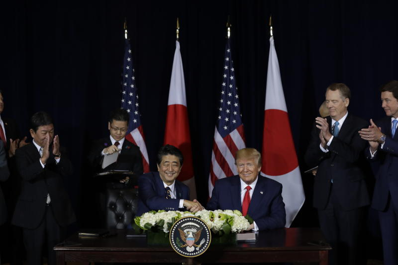 President Donald Trump meets with Japanese Prime Minister Shinzo Abe at the InterContinental Barclay New York hotel during the United Nations General Assembly, Wednesday, Sept. 25, 2019, in New York. (AP Photo/Evan Vucci)